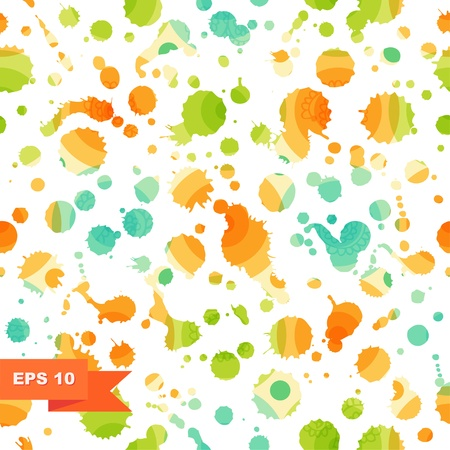 Grunge multicolor abstract seamless background  Dotted texture  Pattern with spots of ink  Blots  Stains Vector