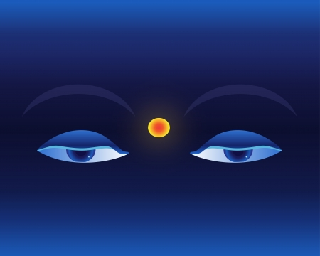 Eyes on deep blue background in asian style