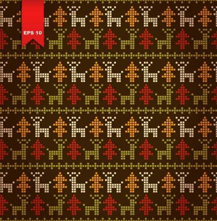 Seamless cute stylized pattern with Christmas trees and deers Vector