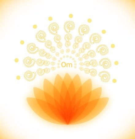 yoga meditation: Immagine lucido con loto buddista bandiera Induismo simbolo, Yoga meditazione mandala