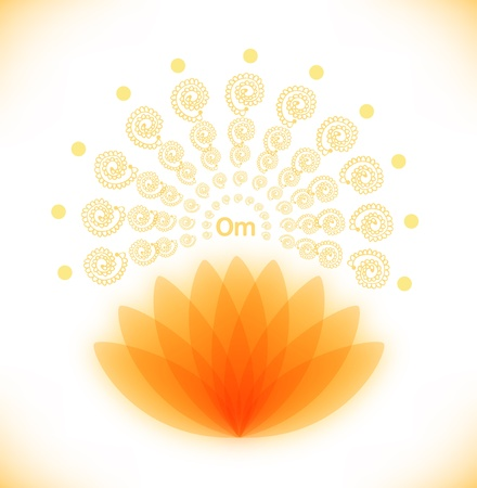 Shiny image with lotus  Buddhistic banner  Hinduism symbol, Yoga meditation mandala Vector