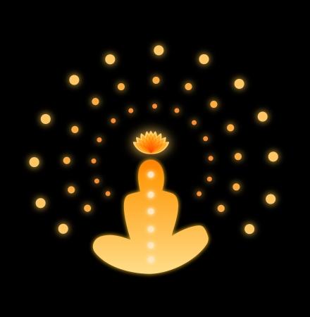 Glanzende mandala Silhouet van de mens met symbolen van chakra Stock Illustratie