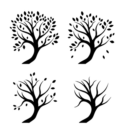 dead wood: Vector isolated silhouettes of trees in seasons