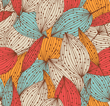 Romantic autumn floral seamless pattern  Vector