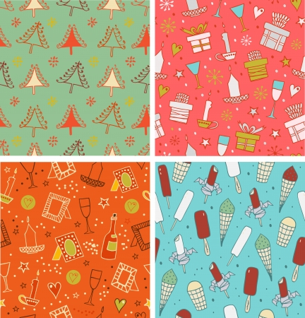 Beautiful collection of winter xmas patterns   Vector