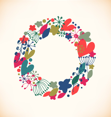 Decorative flourish round garland   Vector
