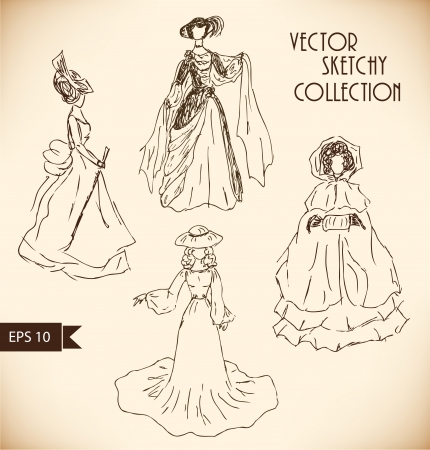Ladies in historical ball dresses Vector
