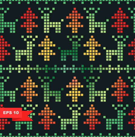 Seamless xmas stylized pattern with Christmas trees and deers Vector