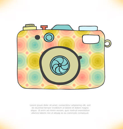 apparatus: Vector illustration of detailed isolated icon of camera in retro style Illustration