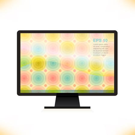hd video: Vector isolated monitor  Multicolor screen  Wallpaper  Computer silhouette, desktop  Illustration