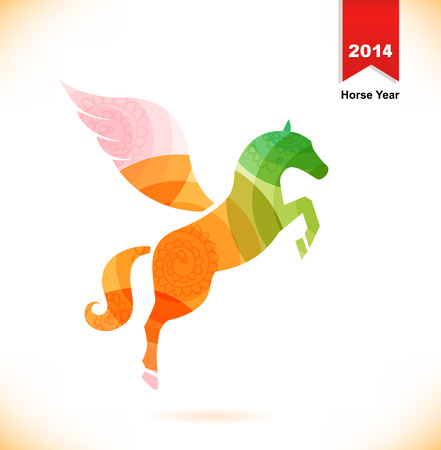 Vector isolated fantasy horse with wings  Pegasus  Year of horse