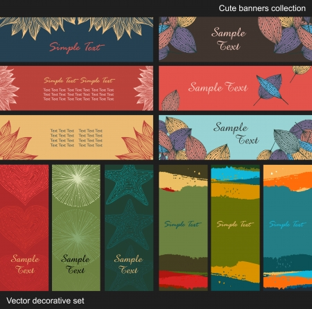 Vector decorative banners  Collection of cute backgrounds  Cartoon design set Vector