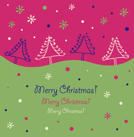 Christmas design  Holiday border  Christmas trees  Xmas card with decorative spruces  Artistic banner Vector