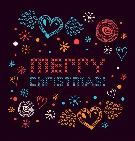 graphic card: Natale netting striscione stile scandinavo a maglia modello con cuori e fiocchi di neve di carta di Natale