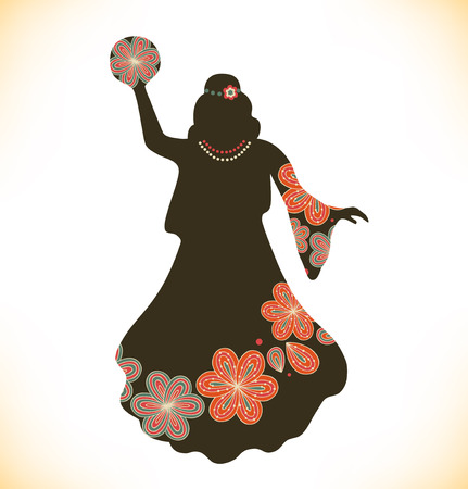 tambourine: Dancing woman in retro traditional clothes  Girl in vintage dress with tambourine  Woman silhouette  Gypsy  Romany Illustration