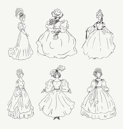 Conjunto De Bocetos De La Mujer En Ropa Retro Damas De Vestidos De