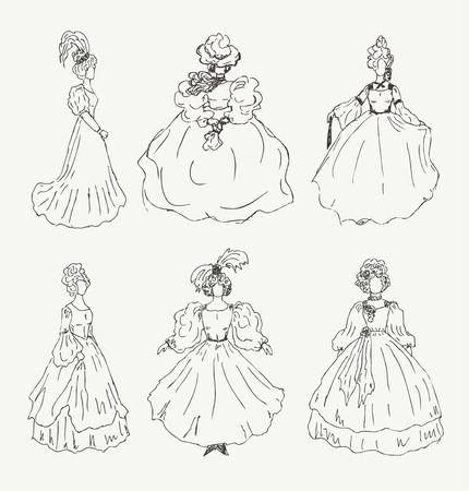 aristocratic: Collection of women sketches in retro historical clothes  Ladies in old vintage ball dresses  Set of hand drawn modern women silhouettes Illustration