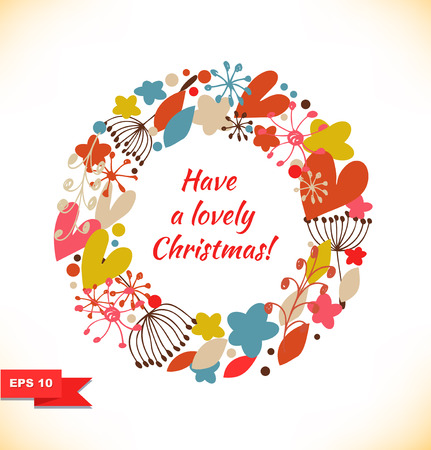 Christmas vector garland  Doodle wreath with hearts, flowers and snowflakes  Design xmas decorative elements Vector