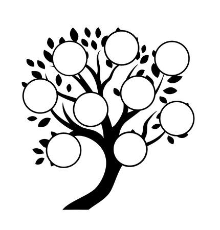 árbol genealógico: Diseño del árbol decorativo, insertar tus fotos, signos o texto en marcos