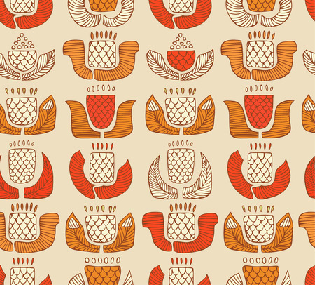indigen: Ethnic pattern with decorative flowers, buds and leaves  Endless background with ornamental native elements  Hand drawn stylish texture for prints, covers, clothes