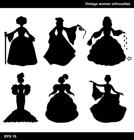 19th: Vintage set of women vector silhouettes  Retro collection of aristocratic women Illustration