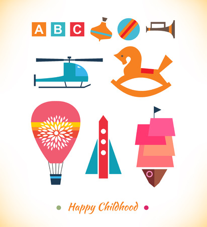 Happy childhood collection  Set with toys  Ball, air balloon, helicopter, sky rocket, humming top, gee-gee  Childish geometric elements for cards, banners, decoration Vector