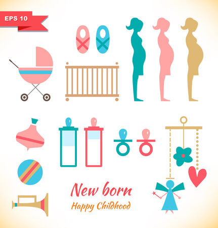 Happy childhood collection  Set with toys  Childish elements  New born symbols  Pregnant  Mother and child Vector