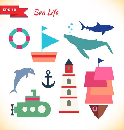 collection of comic marine elements  Set of decorative childish icons  Ships, whale, blower, shark, dolphin, submarine; diver  Vector toys Vector
