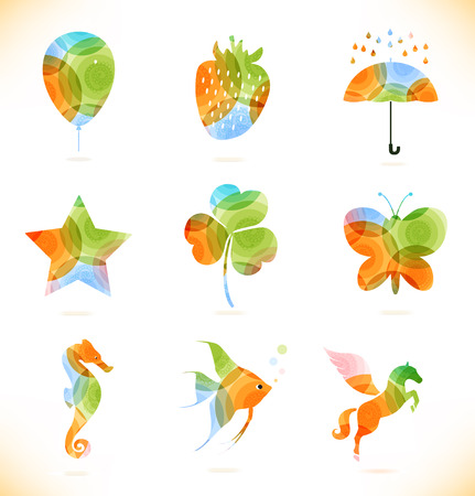 Vector multicolor isolated icons  Symbol collection Vector