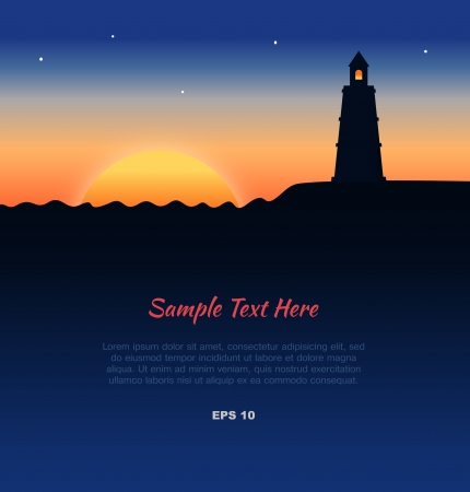 Lanscape with lighthouse silhouette at sunset Vector