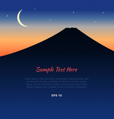 cartoon volcano: Lanscape with silhouette of Mount Fuji with new moon at sunset  Japan traditional view