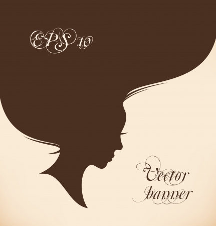 Isolated woman head with long hair  Vintage banner Stock Vector - 24711317
