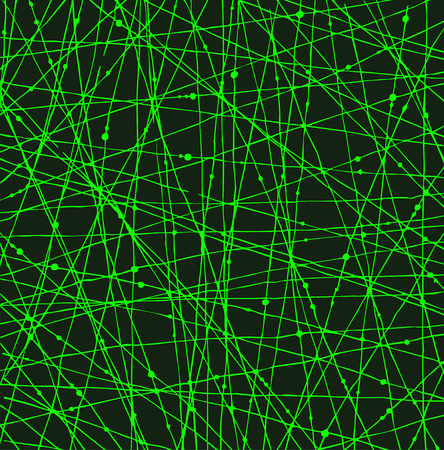 Acid green linear network texture with dots for wallpapers, cards, arts, textile  Vector
