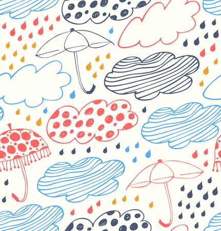 rain cartoon: Bright rainy seamless Lace pattern with clouds, umbrellas and drops of rain  Cartoon doodle texture with many beauty details