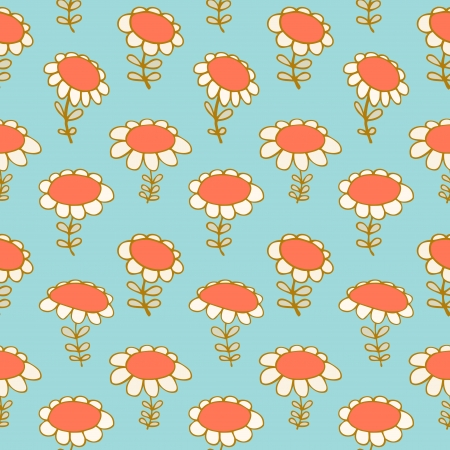 Flourish seamless drawn pattern  Camomiles delicate texture  Daisy  Bright with spring flowers  Poppies  Vector