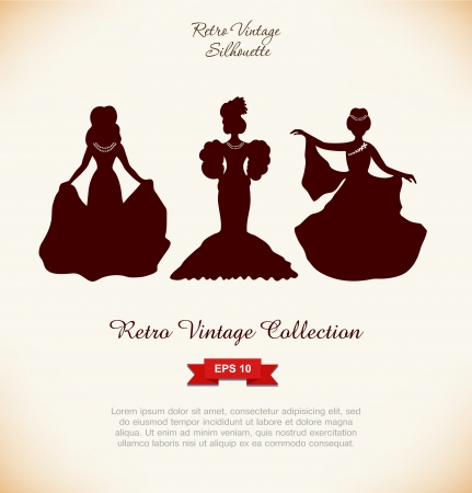 aristocratic: Black isolated woman silhouettes  Vintage illustration of retro women  Romantic women in modern dresses