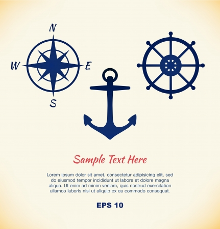 ship steering wheel: set of maritime symbols  Anchor, steering wheel, steering control, wind rose, mariner s compass