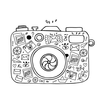 foto: Vector illustration of detailed isolated image of camera with many cute details Illustration