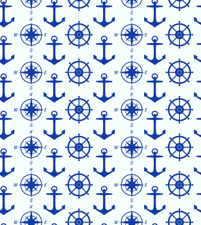mariner: Seamless background with maritime symbols  Pattern with anchor, steering wheel, steering control, wind rose, mariner s compass