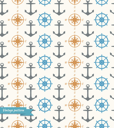 mariner: Seamless vintage background with maritime symbols  Pattern with anchor, steering wheel, steering control, wind rose, mariner s compass