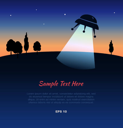 Lanscape with UFO silhouette at sunset Vector