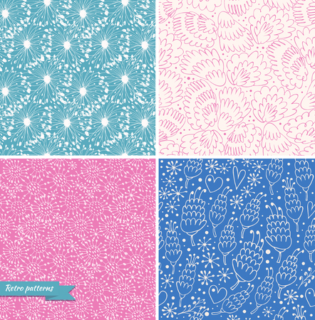 Set of ornamental cute seamless floral patterns  Decorative beauty backgrounds with flowers Vector