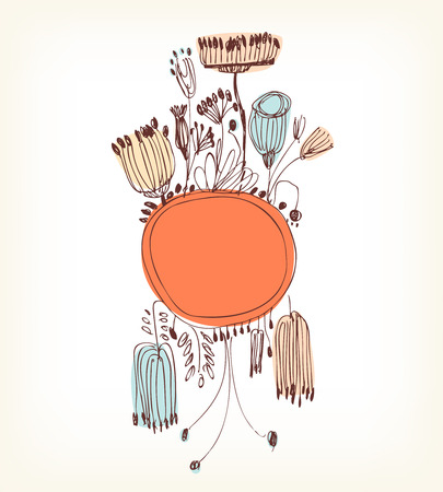 Hand drawn orange vertical banner with round frame and place for your text  Vintage lace greeting card witn country flowers and berries Vector