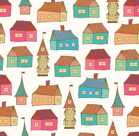 scandinavian landscape: Seamless pattern with decorative houses  City background  Hand drawn town tempate for prints, textile, wallpapers, wraps