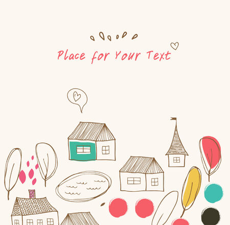 Cute countryside landscape with houses and trees  Grunge drawn banner Vector