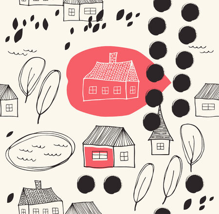 Cute rural landscape with houses and trees  Grunge drawn background  Seamless decorative pattern Vector