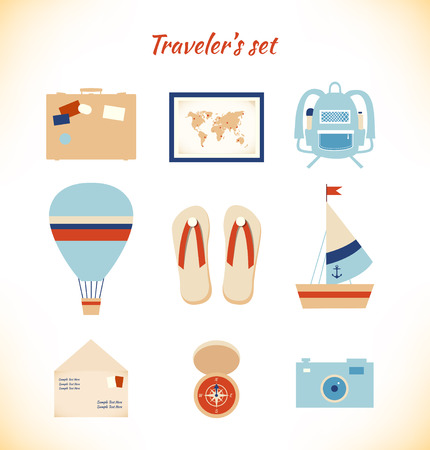 Holiday travaler adventury vector set Vector