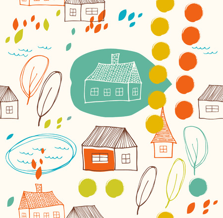 Cute rural landscape with houses and trees  Doodle drawn background  Seamless decorative pattern