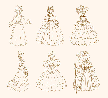 mode: Women sketchy collection in retro style  Ladies in vintage dresses  Set of hand drawn retro women silhouettes