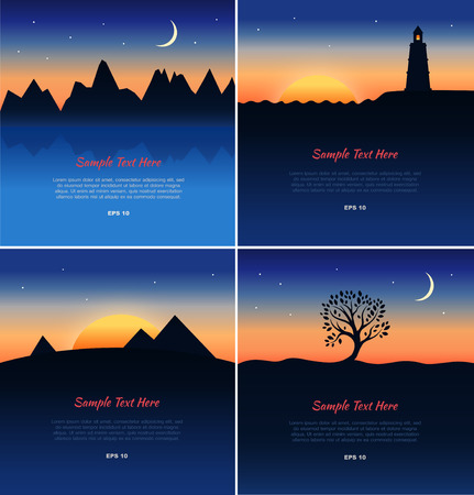 desert sun: Set of beautiful lanscapes silhouettes  Posters with night nature viewes